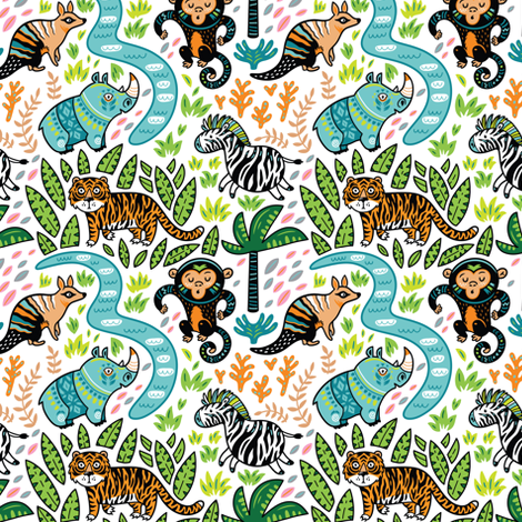 Jungle fabric by penguinhouse on Spoonflower - custom fabric