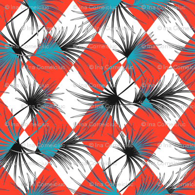 Palm leaves and red harlequin rhombus