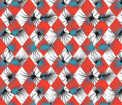 Palm leaves and red harlequin rhombus fabric by yopixart on Spoonflower - custom fabric