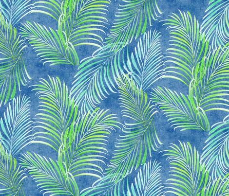 Breezy Palms Navy 300 fabric by kadyson on Spoonflower - custom fabric