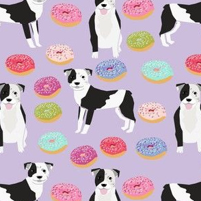 pitbull and donuts fabric cute pastel donut design  - lavender