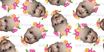 Quirky Small Baby Girl Doll Head Painted flower Floral Tossed || Pink Green Yellow Flower _ Miss Chiff Designs
