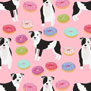 pitbull and donuts fabric cute pastel donut design  - pink