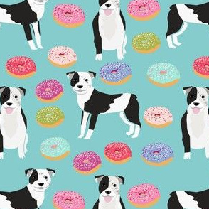 pitbull and donuts fabric cute pastel donut design  - light blue