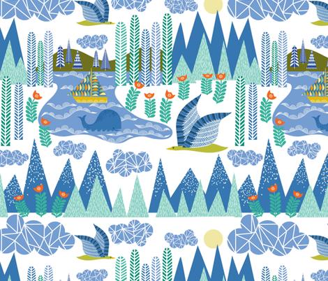 Swedish Folk: A Bird's eye view fabric by vo_aka_virginiao on Spoonflower - custom fabric