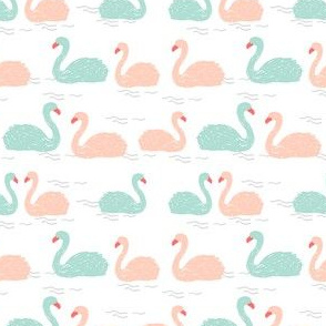 swans fabric // mint bird birds elegant beautiful birds mint and pink swans - small version