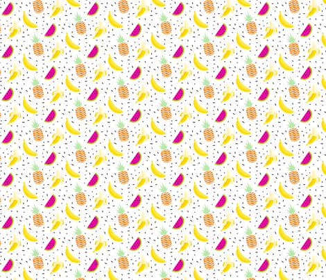 Summer fruit bananas, pineapples and watermelons fabric by yopixart on Spoonflower - custom fabric