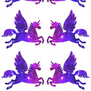 2 Pegasus winged unicorns pegacorns glitter sparkles stars universe galaxy nebula watercolor effect silhouette purple blue violet pink cosmic cosmos planets