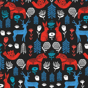 Swedish Folk Art fabric by Andrea Lauren