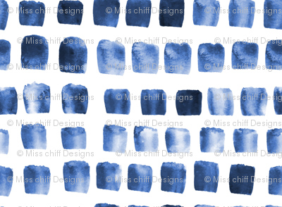 17-10K Indigo Boho Blue white Squares || Abstract watercolor spots dots drops _ Miss Chiff Designs