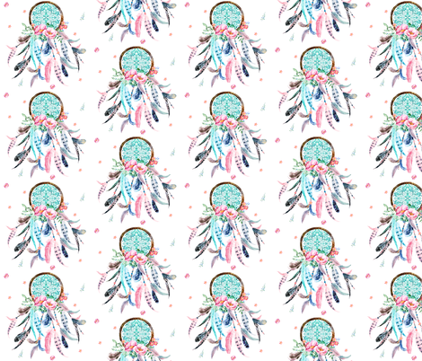 "4.5"" Pink & Aqua Dreamcatcher fabric by shopcabin on Spoonflower - custom fabric"