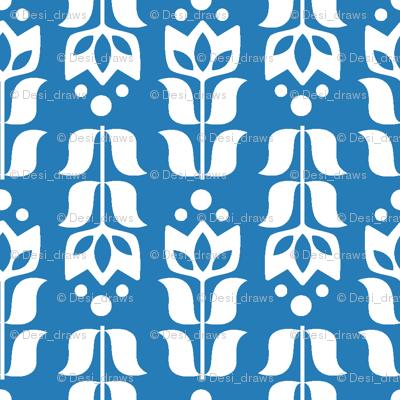 folksy flower - blue