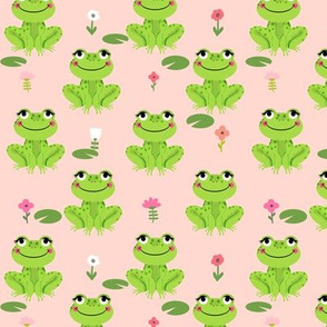 Frogs florals cute animal fabric princess blush