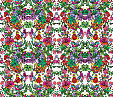 Floral pattern in vivid colors fabric by acheartist on Spoonflower - custom fabric