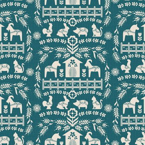 Dala Farm in Teal // swedish folk art dala horse cat rooster pig goat bunny farm teal green fabric