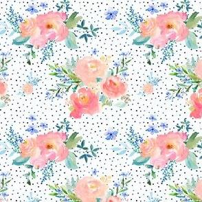 "3.5"" Floral Sweet Pastel / Variation 2 / Shibori Blue Polka Dots"