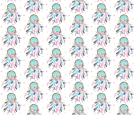 "3.5"" Pink & Aqua Dreamcatcher fabric by shopcabin on Spoonflower - custom fabric"