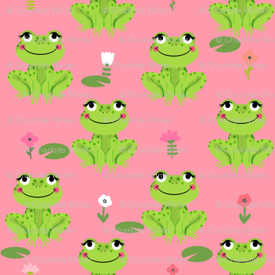 Frogs florals cute animal fabric princess bright pink