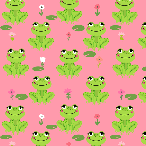 Frogs florals cute animal fabric princess bright pink fabric by charlottewinter on Spoonflower - custom fabric
