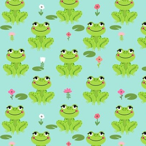 Frogs florals cute animal fabric princess bright