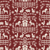Dala Farm in Red // swedish folk art dala horse cat rooster pig goat bunny farm dark red burgundy fabric