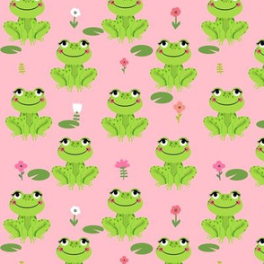 Frogs florals cute animal fabric princess light pink