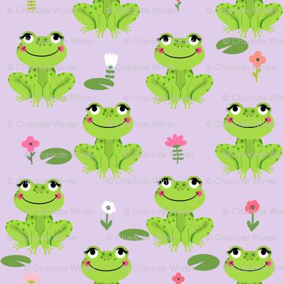 Frogs florals cute animal fabric princess purple