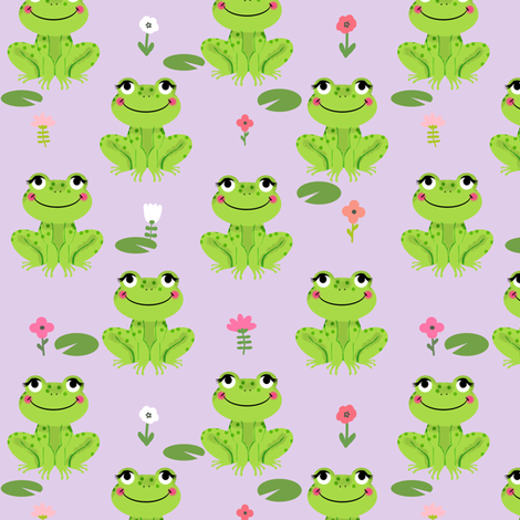 Frogs florals cute animal fabric princess purple fabric by charlottewinter on Spoonflower - custom fabric