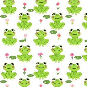 Frogs florals cute animal fabric princess white