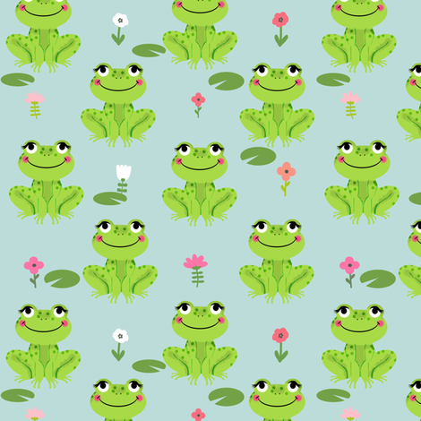 Frogs florals cute animal fabric princess dusty blue fabric by charlottewinter on Spoonflower - custom fabric