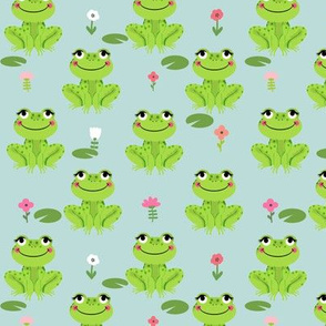 Frogs florals cute animal fabric princess dusty blue