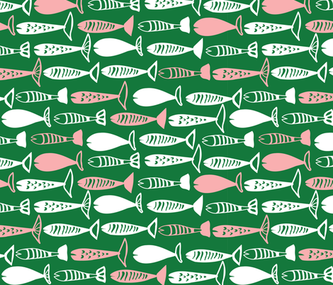 Fish in green fabric by lburleighdesigns on Spoonflower - custom fabric