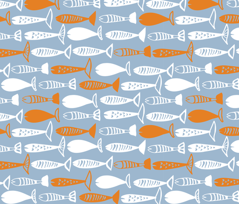Fish in blue fabric by lburleighdesigns on Spoonflower - custom fabric