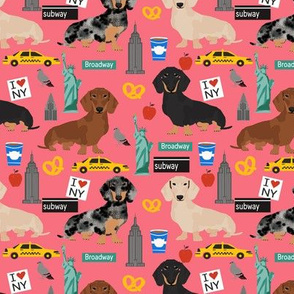 Dachshund New York City dog breed fabric bright coral
