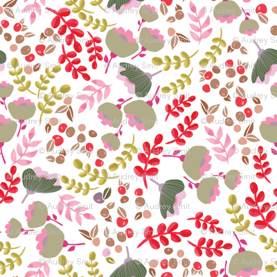 Up North floral - Green and pink