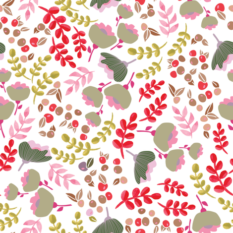 Up North floral - Green and pink fabric by thislittlestreet on Spoonflower - custom fabric
