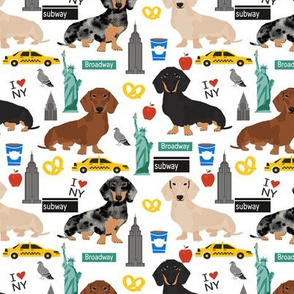 Dachshund New York City dog breed fabric white