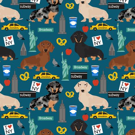 Dachshund New York City dog breed fabric blue fabric by petfriendly on Spoonflower - custom fabric