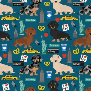 Dachshund New York City dog breed fabric blue
