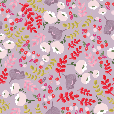 Up North floral in Orchid fabric by thislittlestreet on Spoonflower - custom fabric