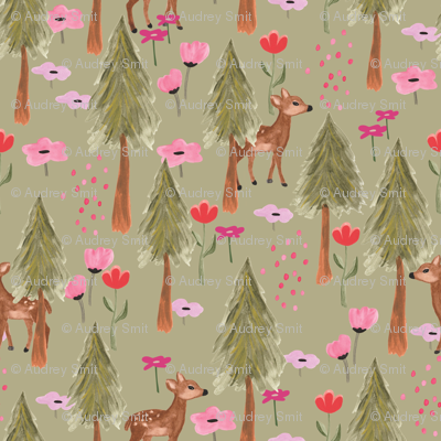 Deers in forest in green - medium