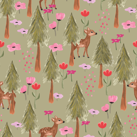 Deers in forest in green - medium fabric by thislittlestreet on Spoonflower - custom fabric