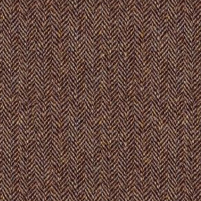 tweedy dark walnut-brown herringbone