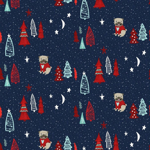 Pug Christmas - Navy Blue