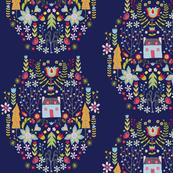 Swedish Folk Art - Navy Blue