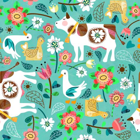 Meadow In Bloom fabric by sarah_treu on Spoonflower - custom fabric