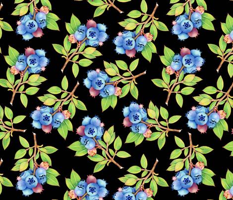 Wild Blueberry Sprigs fabric by patriciasheadesigns on Spoonflower - custom fabric