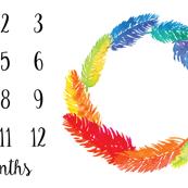 Milestone Blanket Rainbow Feathers