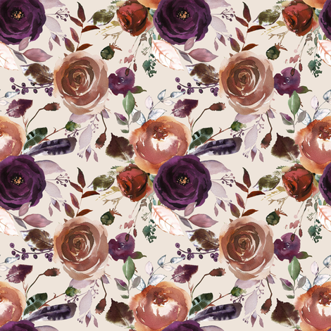 Plum Fall Florals on Cream fabric by hipkiddesigns on Spoonflower - custom fabric