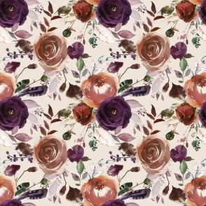 Plum Fall Florals on Cream